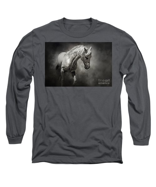 Black And White Horse - Equestrian Art Poster Long Sleeve T-Shirt