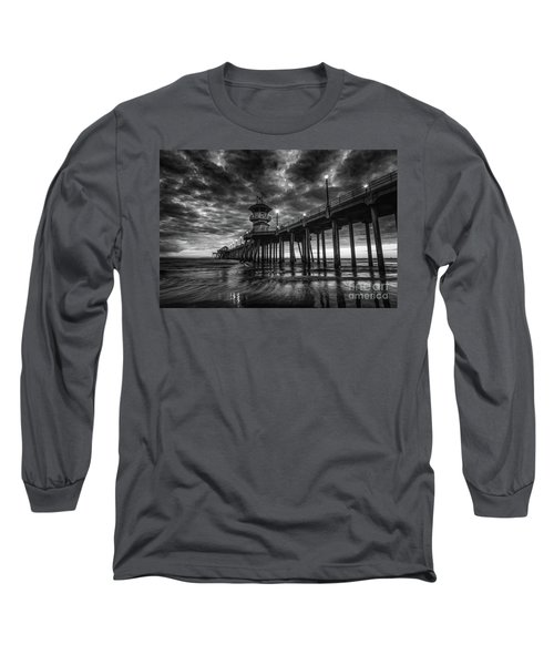 Black And White Huntington Beach Pier Long Sleeve T-Shirt