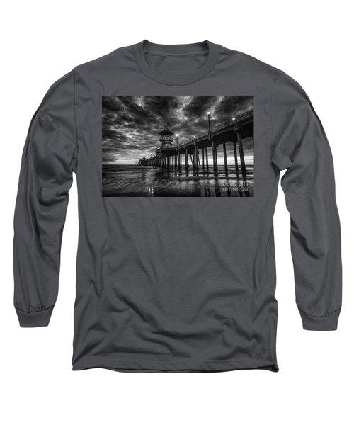 Black And White Huntington Beach Pier Long Sleeve T-Shirt