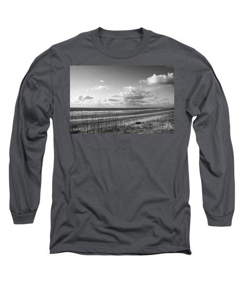 Black And White Ocean Scene Long Sleeve T-Shirt