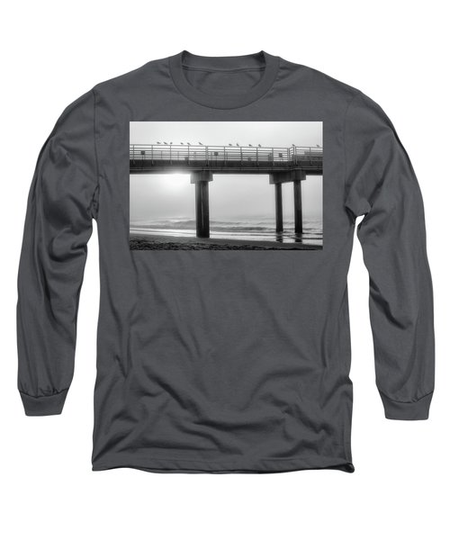 Long Sleeve T-Shirt featuring the photograph Black And White Pier Alabama  by John McGraw
