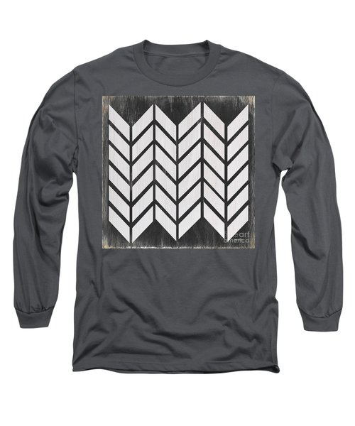 Long Sleeve T-Shirt featuring the painting Black And White Quilt by Debbie DeWitt