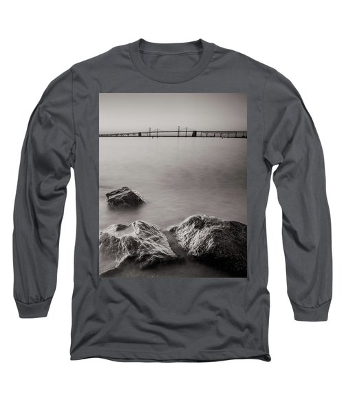 Black And White Sandy Point Long Sleeve T-Shirt by Jennifer Casey