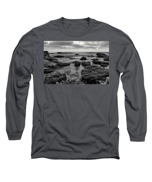 Black And White Sunset At Low Tide Long Sleeve T-Shirt