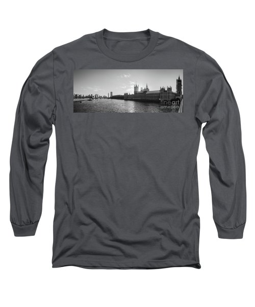 Black And White View Of Thames River And House Of Parlament From Long Sleeve T-Shirt
