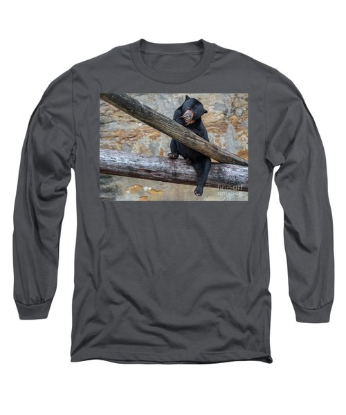 Black Bear Cub Sitting On Tree Trunk Long Sleeve T-Shirt
