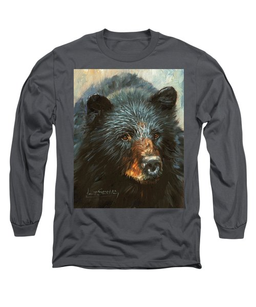 Long Sleeve T-Shirt featuring the painting Black Bear by David Stribbling