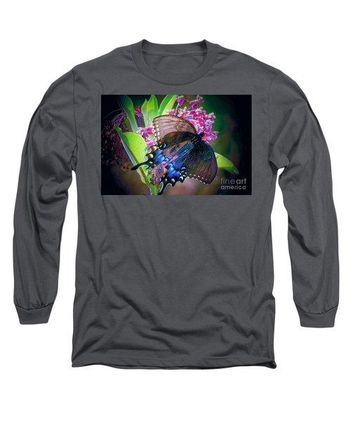 Black Blue Butterfly Long Sleeve T-Shirt