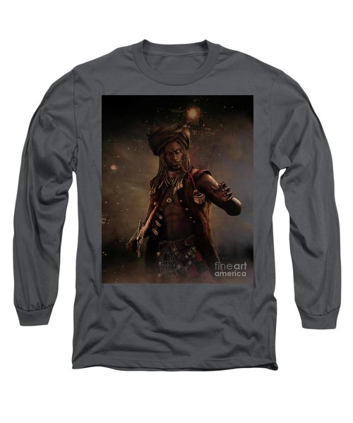 Black Caesar Pirate Long Sleeve T-Shirt by Shanina Conway