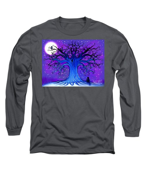 Long Sleeve T-Shirt featuring the drawing Black Cat And Night Owl by Nick Gustafson