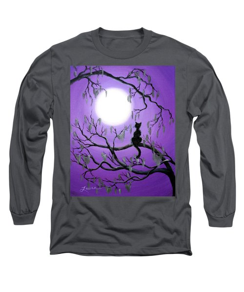 Black Cat In Mossy Tree Long Sleeve T-Shirt by Laura Iverson