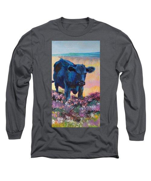 Black Cow On Dartmoor - Looking Moody Long Sleeve T-Shirt