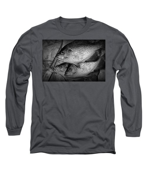 Black Crappie Panfish With Fish Filet Knife In Black And White Long Sleeve T-Shirt