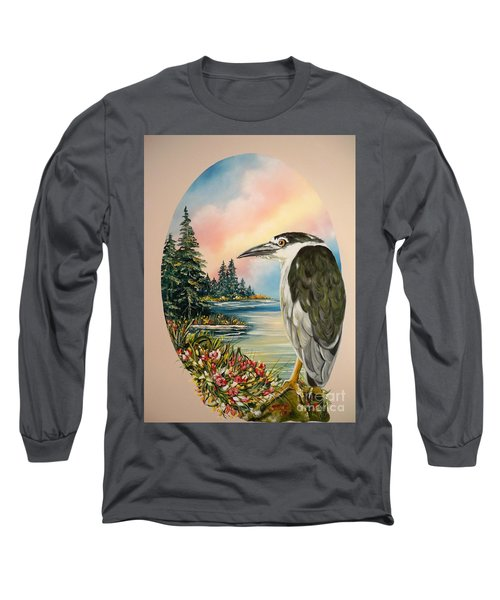 Long Sleeve T-Shirt featuring the painting Black Crowned Heron by Sigrid Tune