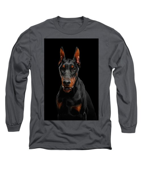 Black Doberman Long Sleeve T-Shirt
