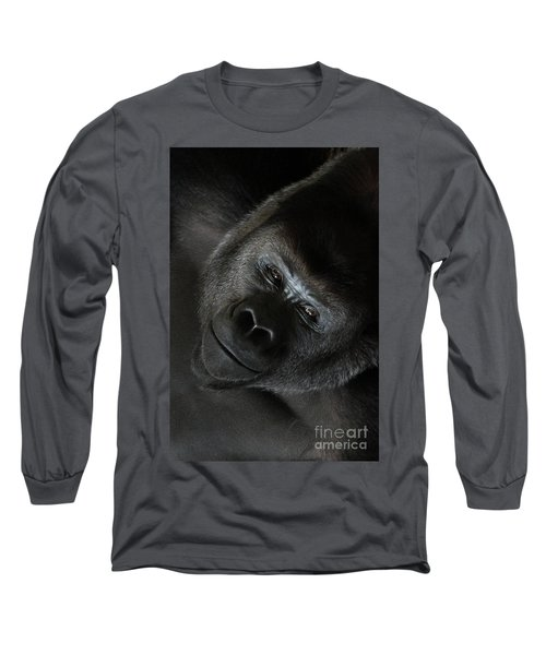 Black Gorilla Smile Long Sleeve T-Shirt