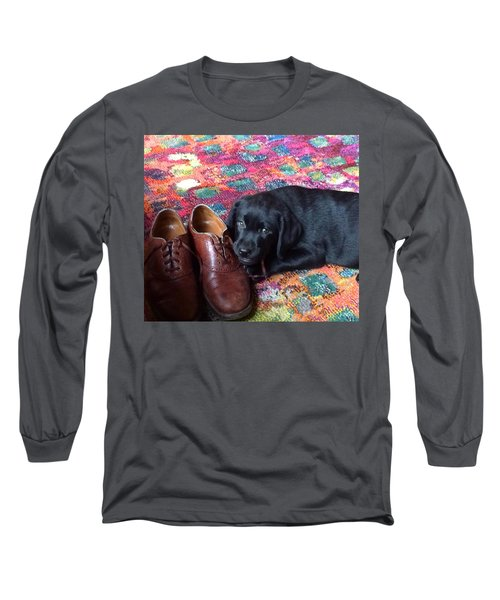 Black Lab Puppy Long Sleeve T-Shirt by Robin Regan