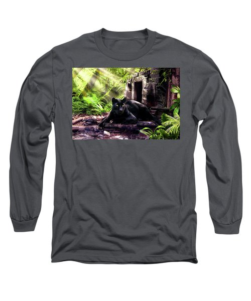 Black Panther Custodian Of Ancient Temple Ruins  Long Sleeve T-Shirt