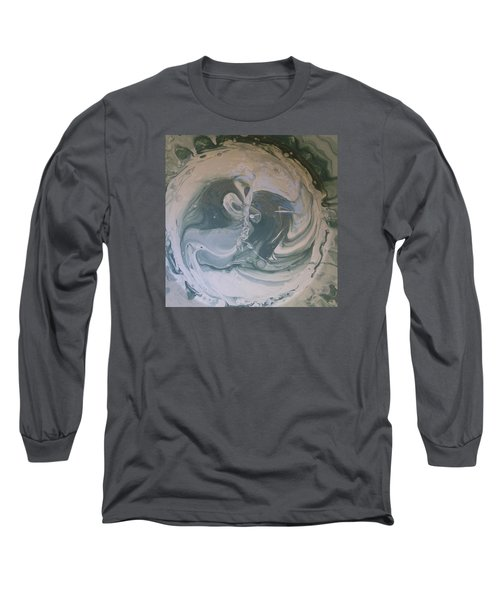 Black Panthers Kissing In Ice Cave Long Sleeve T-Shirt by Gyula Julian Lovas