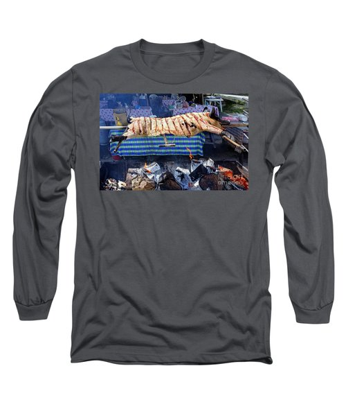 Long Sleeve T-Shirt featuring the photograph Black Pig Spit Roasted In Taiwan by Yali Shi