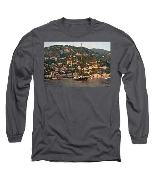 Black Sailboat At Villefranche II Long Sleeve T-Shirt