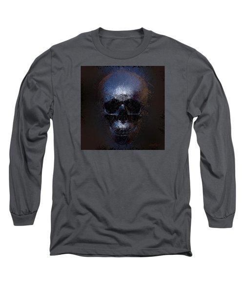 Long Sleeve T-Shirt featuring the digital art Black Skull by Vitaliy Gladkiy