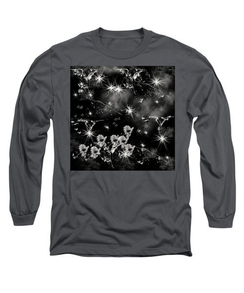 Long Sleeve T-Shirt featuring the drawing Black Square By Jenny Rainbow by Jenny Rainbow
