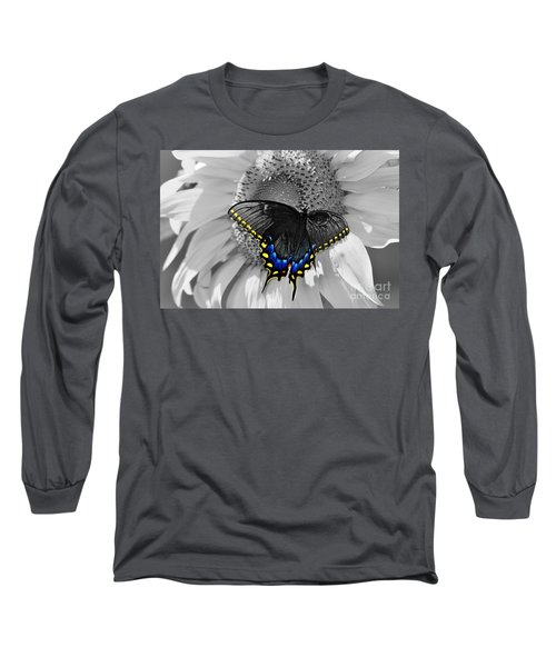 Black Swallowtail And Sunflower Color Splash Long Sleeve T-Shirt