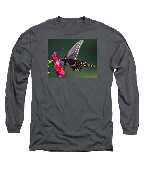 Black Tiger Swallowtail Long Sleeve T-Shirt by Kathy Eickenberg