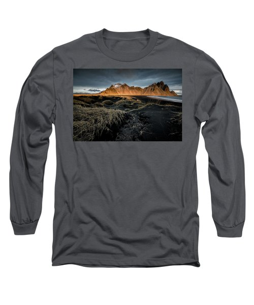Blackbeach And Vestrahorn Long Sleeve T-Shirt by Allen Biedrzycki