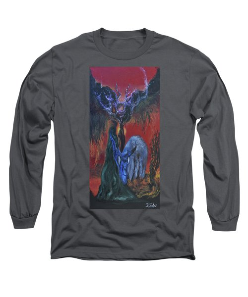 Long Sleeve T-Shirt featuring the painting Blackberry Thorn Psychosis by Christophe Ennis
