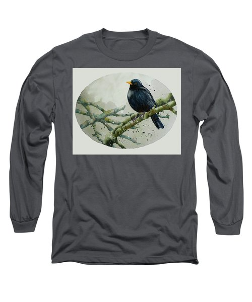 Blackbird Painting Long Sleeve T-Shirt by Alison Fennell