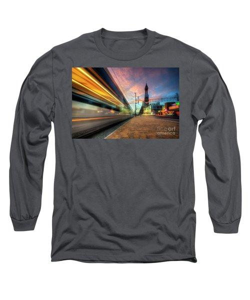 Long Sleeve T-Shirt featuring the photograph Blackpool Tram Light Trail by Yhun Suarez
