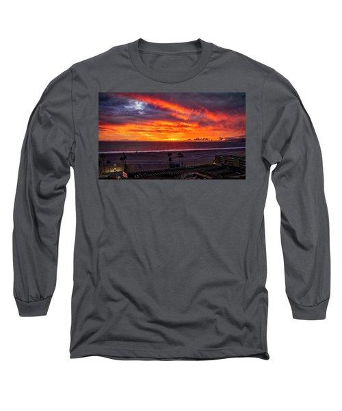 Blazing Sunset Over Malibu Long Sleeve T-Shirt