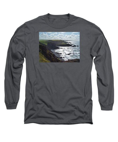 Blegberry Cliffs From Damehole Point Long Sleeve T-Shirt by Richard Brookes
