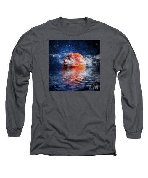 Blood Moon A Rising Long Sleeve T-Shirt by Jim  Hatch