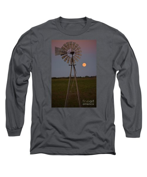 Blood Moon And Windmill Long Sleeve T-Shirt by Mark McReynolds