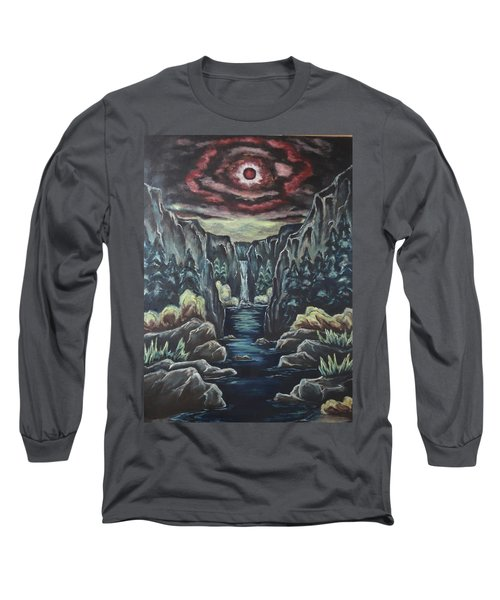 Long Sleeve T-Shirt featuring the painting Blood Moon by Cheryl Pettigrew