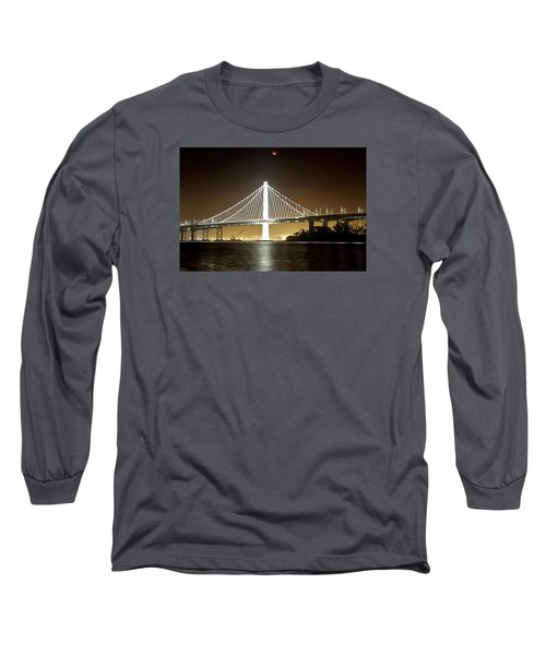 Blood Moon Over Bay Bridge Long Sleeve T-Shirt