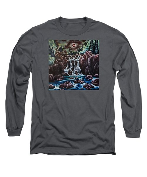 Long Sleeve T-Shirt featuring the painting Blood Moon Rising by Cheryl Pettigrew