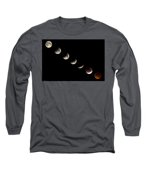 Bloodmoon Lunar Eclipse With  Phases Composite Long Sleeve T-Shirt