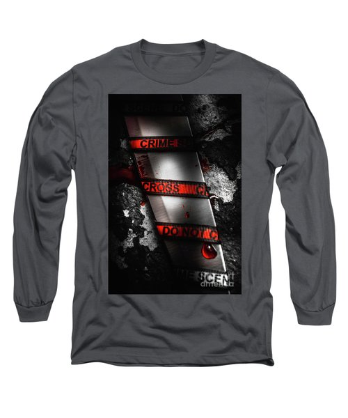 Bloody Knife Wrapped In Red Crime Scene Ribbon Long Sleeve T-Shirt