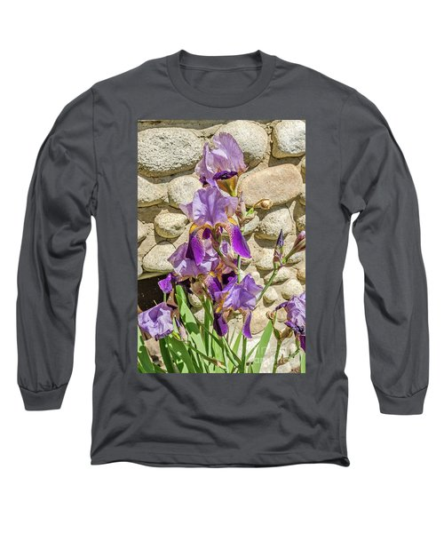 Blooming Purple Iris Long Sleeve T-Shirt by Sue Smith
