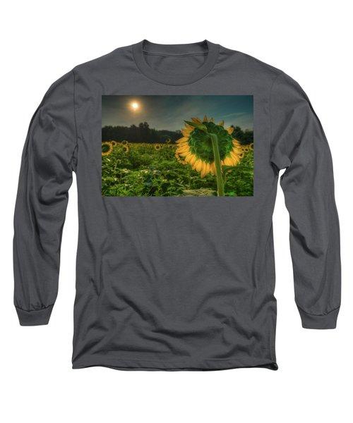 Blooming Sunflower Facing Rising Sun Long Sleeve T-Shirt