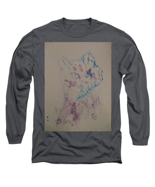 Blue And Purple Cat Long Sleeve T-Shirt by AJ Brown