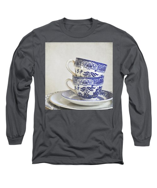 Blue And White Stacked China. Long Sleeve T-Shirt