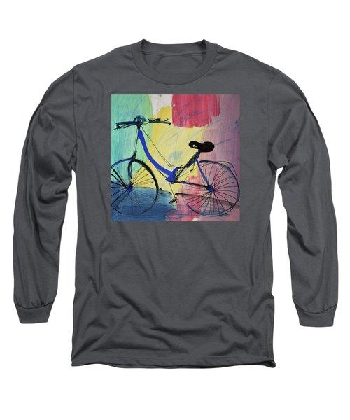 Blue Bicycle Long Sleeve T-Shirt by Amara Dacer