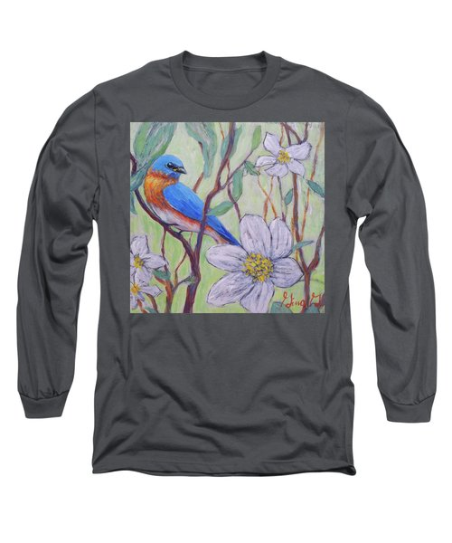Blue Bird And Blossoms Long Sleeve T-Shirt