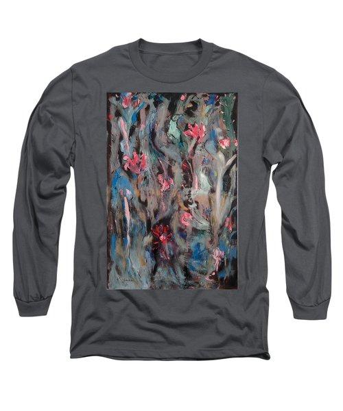 Blue Bird In Flower Garden Long Sleeve T-Shirt