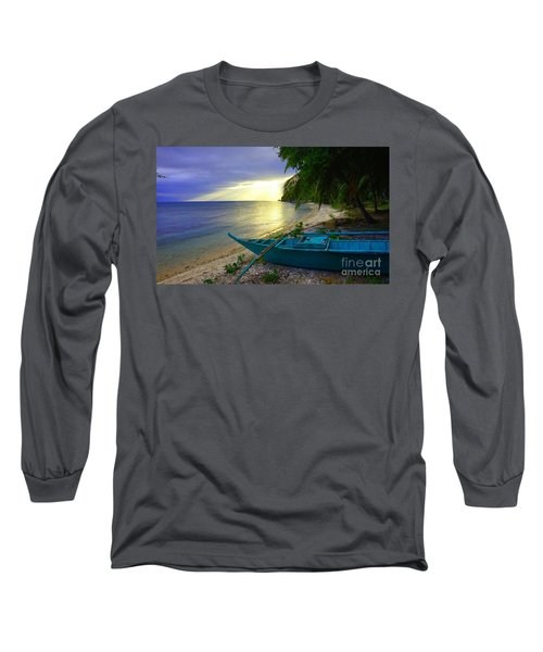 Blue Boat And Sunset On Beach Long Sleeve T-Shirt